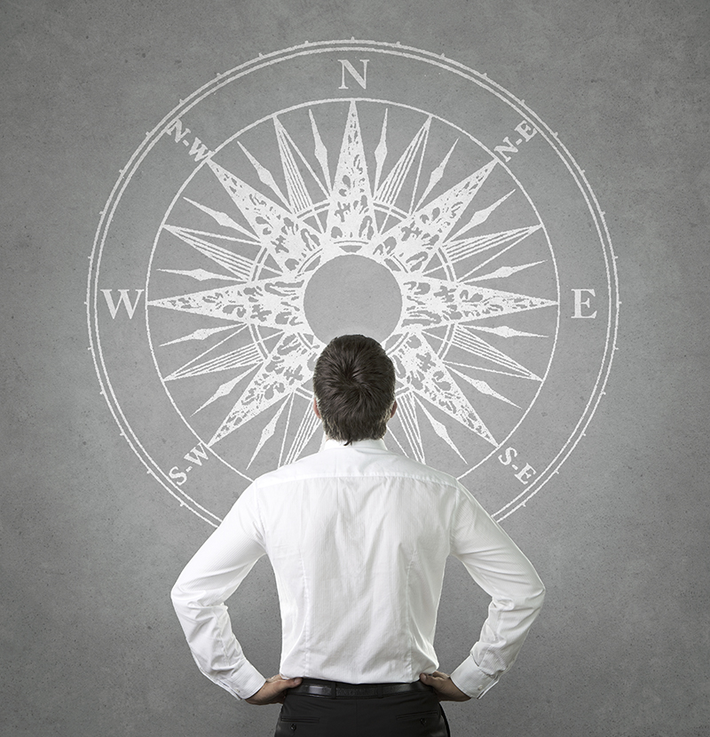 Confused, young businessman looking at wind rose drawn on the co